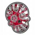 Mexican Day Of The Dead SUGAR SKULL With JDM Style Rising Sun Flag Motif External Vinyl Car Sticker 120x90mm